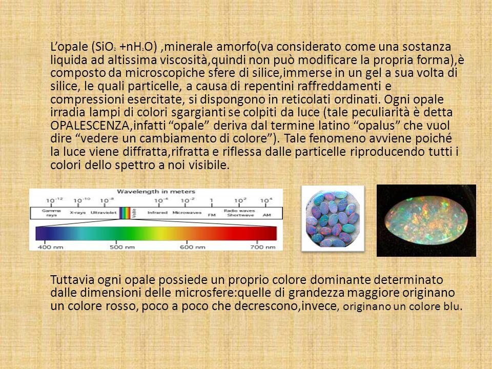 L'opale (SiO2 +nH2O) ,minerale amorfo(va considerato come una sostanza liquida ad altissima viscosità,quindi non può modificare la propria forma),è composto da microscopiche sfere di silice,immerse in un gel a sua volta di silice, le quali particelle, a causa di repentini raffreddamenti e compressioni esercitate, si dispongono in reticolati ordinati.