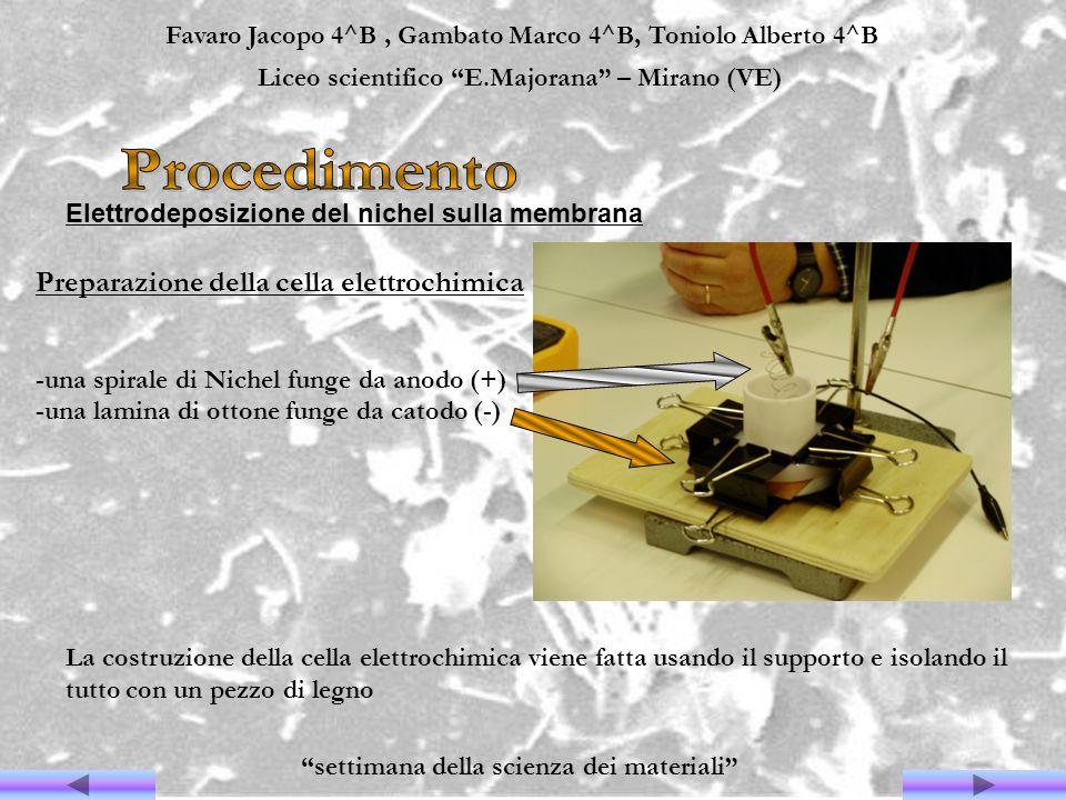 Procedimento Preparazione della cella elettrochimica