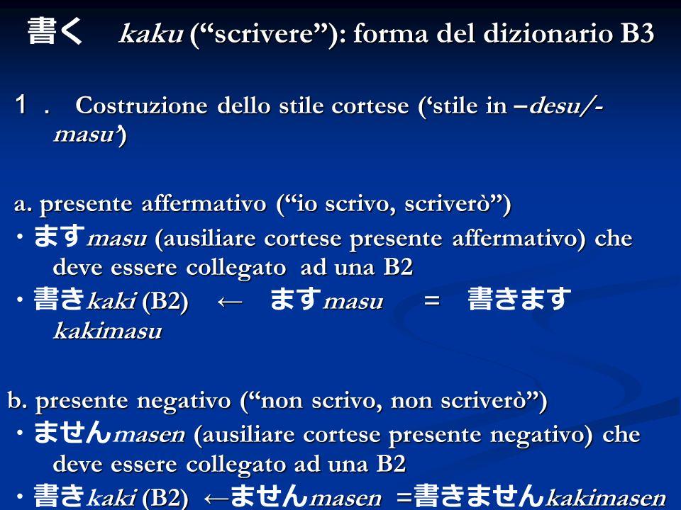 書く kaku ( scrivere ): forma del dizionario B3