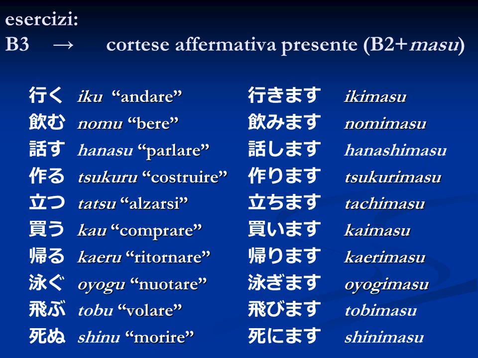 esercizi: B3 → cortese affermativa presente (B2+masu)