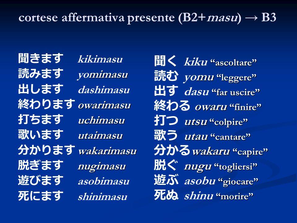 cortese affermativa presente (B2+masu) → B3