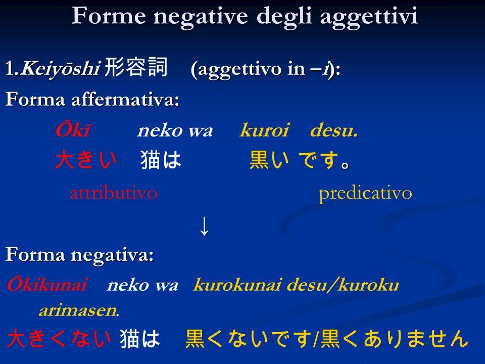 Forme negative degli aggettivi