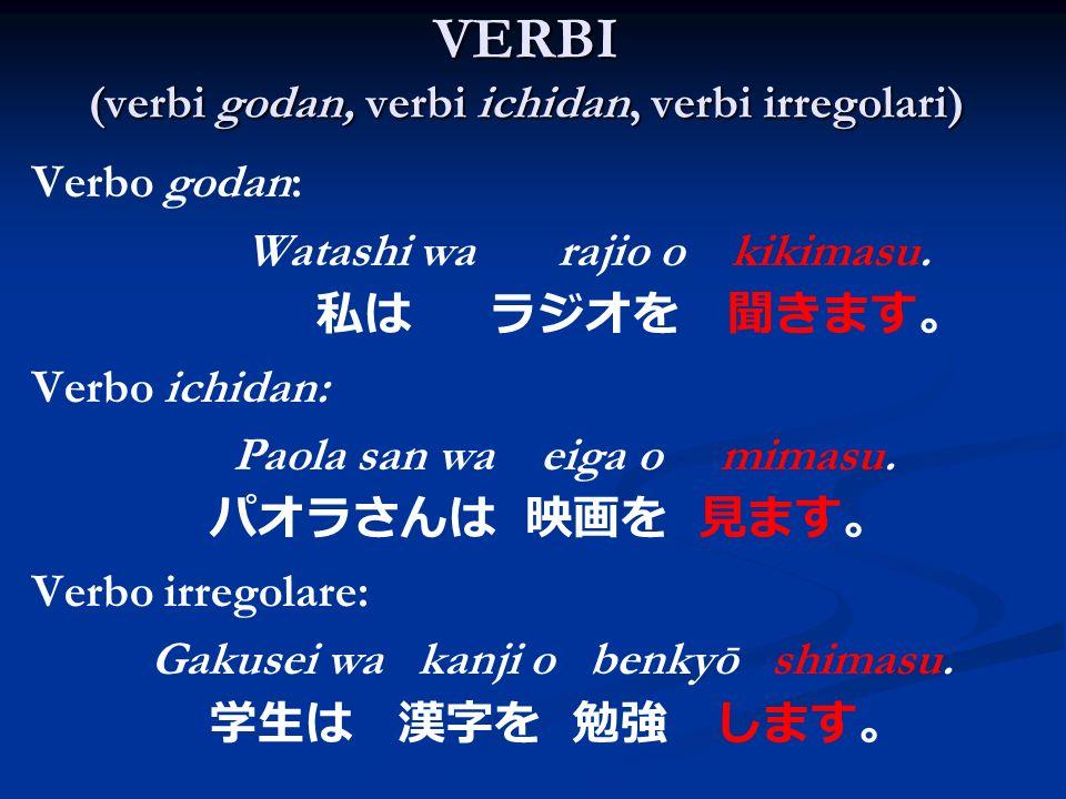 VERBI (verbi godan, verbi ichidan, verbi irregolari)