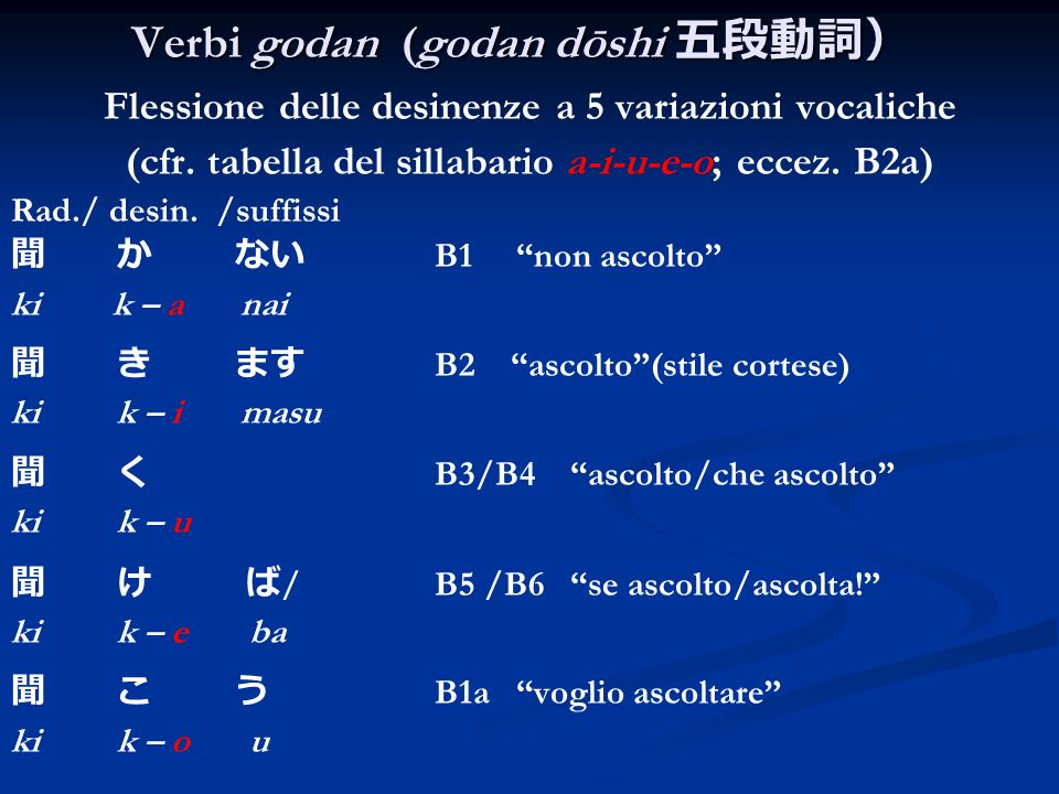 Verbi godan (godan dōshi 五段動詞)