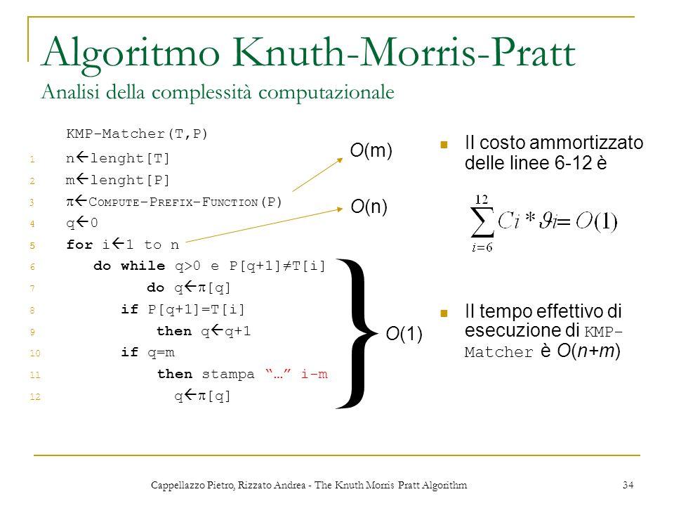 Algoritmo Knuth-Morris-Pratt Analisi della complessità computazionale