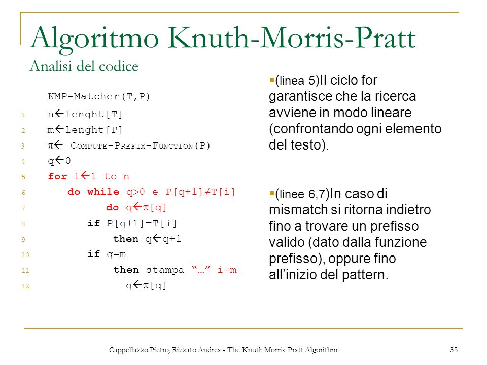 Algoritmo Knuth-Morris-Pratt Analisi del codice