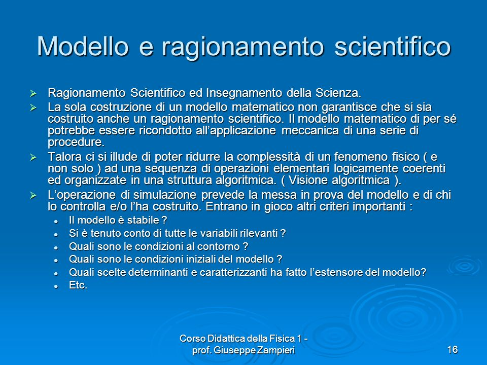 Modello e ragionamento scientifico