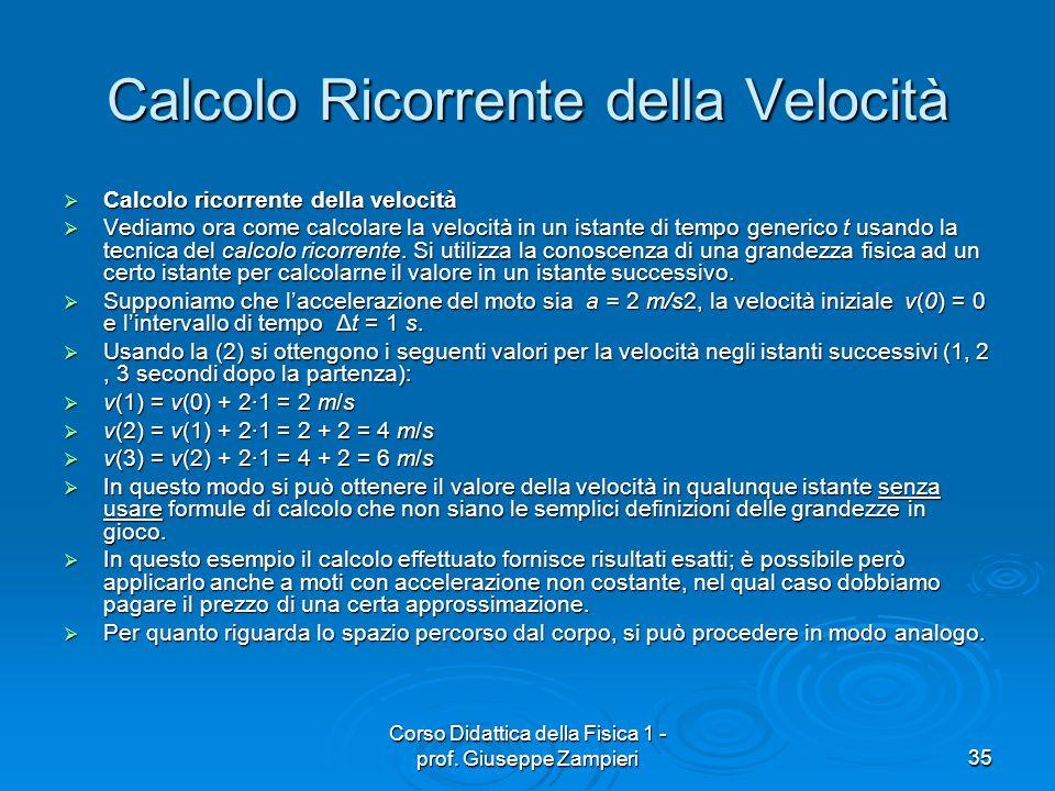Calcolo Ricorrente della Velocità