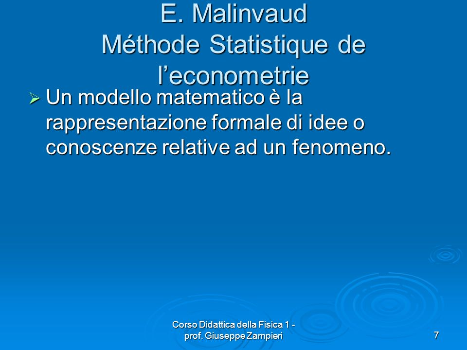 E. Malinvaud Méthode Statistique de l'econometrie