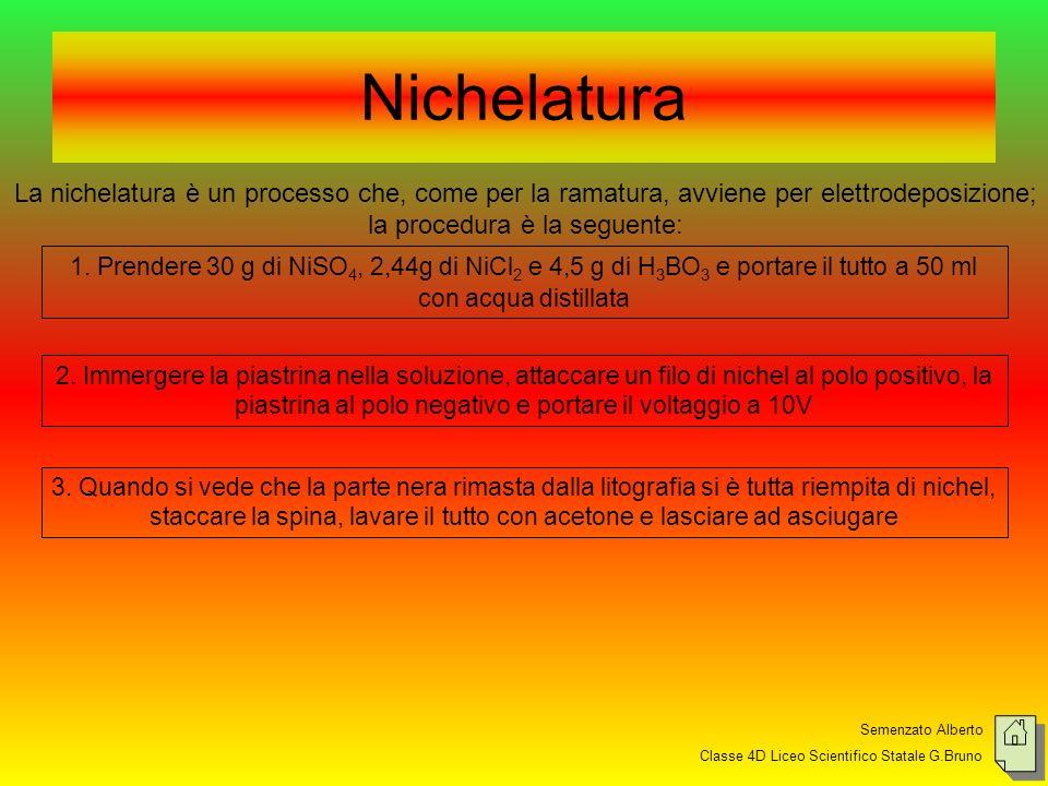 Nichelatura La nichelatura è un processo che, come per la ramatura, avviene per elettrodeposizione; la procedura è la seguente: