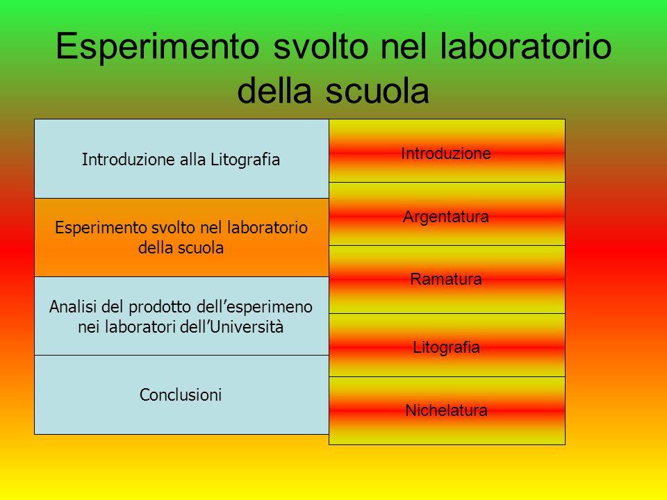 Esperimento svolto nel laboratorio della scuola