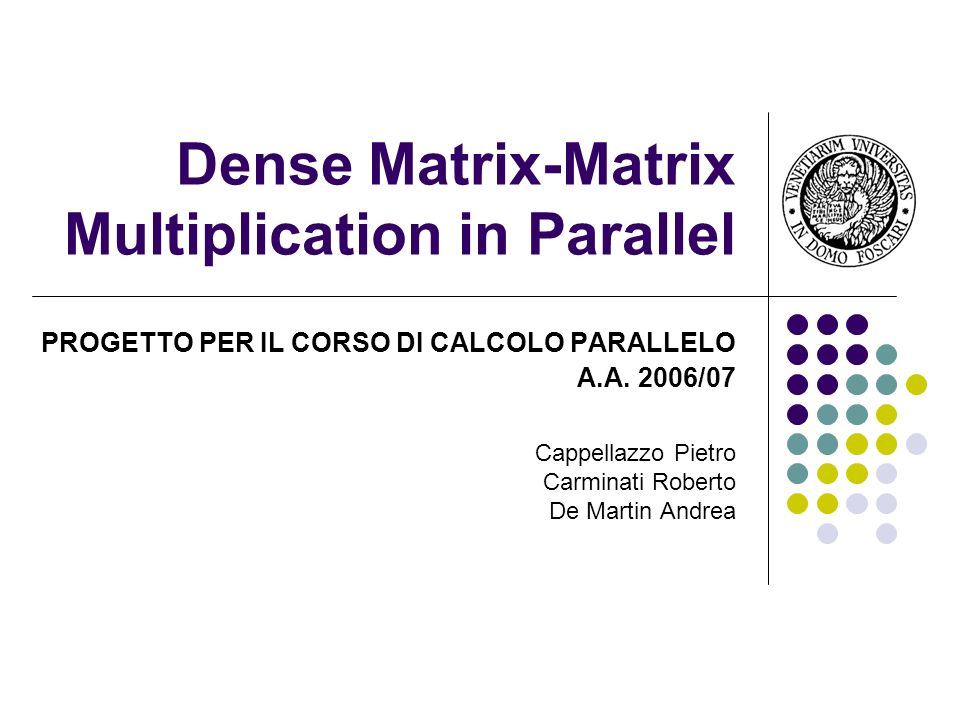 Dense Matrix-Matrix Multiplication in Parallel