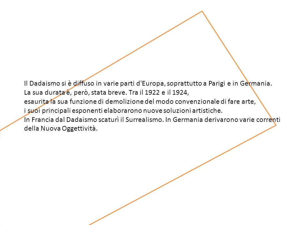 Il Dadaismo si è diffuso in varie parti d Europa, soprattutto a Parigi e in Germania.