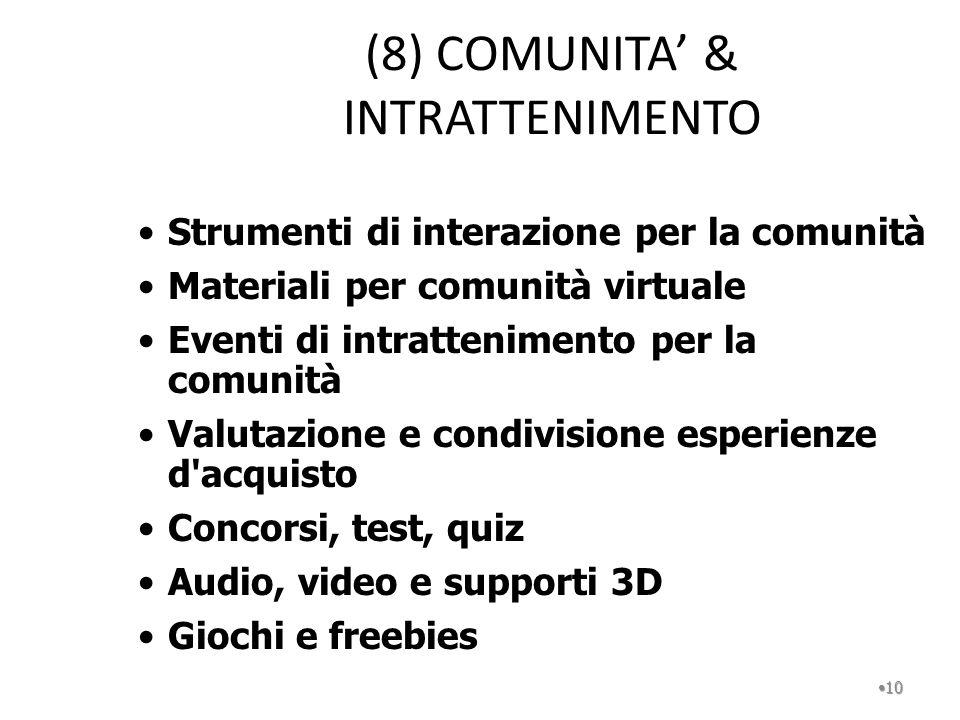 (8) COMUNITA' & INTRATTENIMENTO