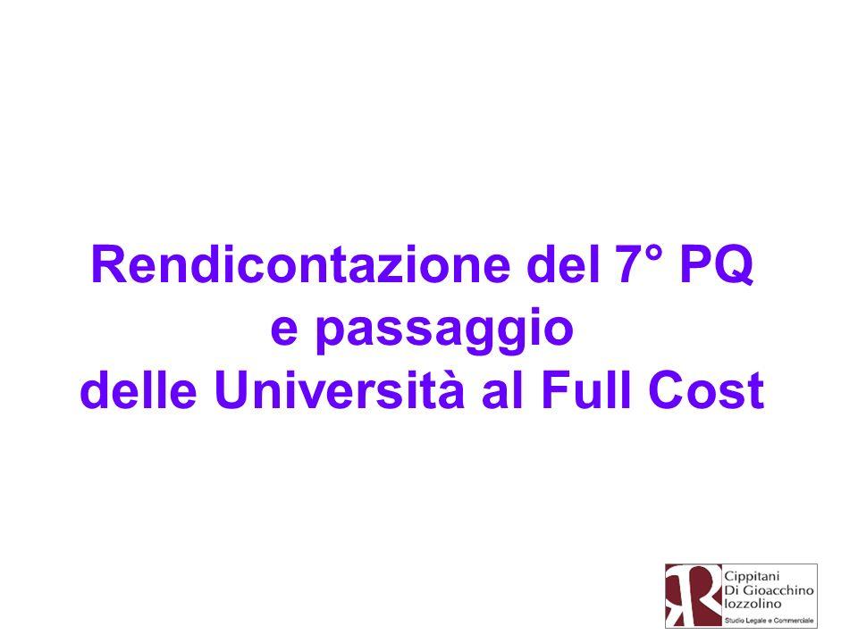 Rendicontazione del 7° PQ delle Università al Full Cost