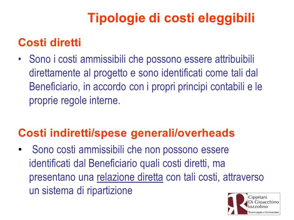 Tipologie di costi eleggibili