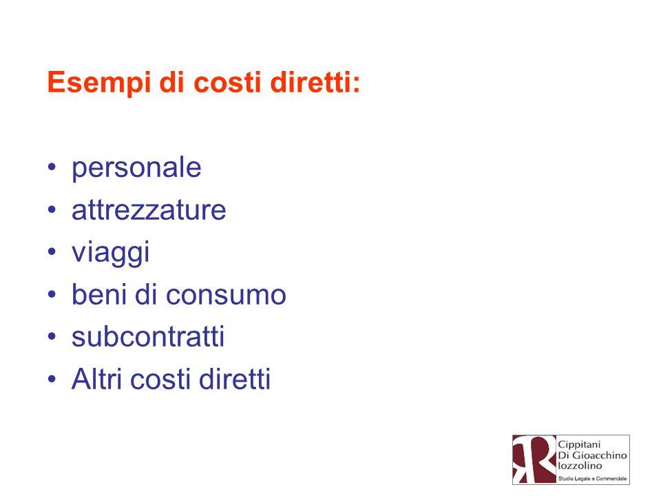 Esempi di costi diretti: