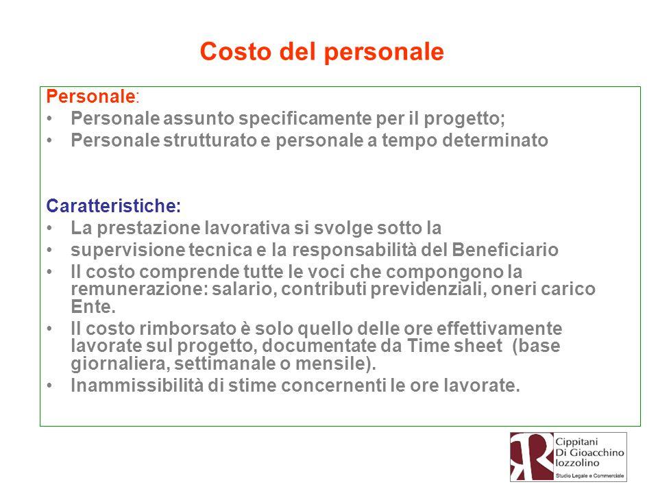 Costo del personale Personale: