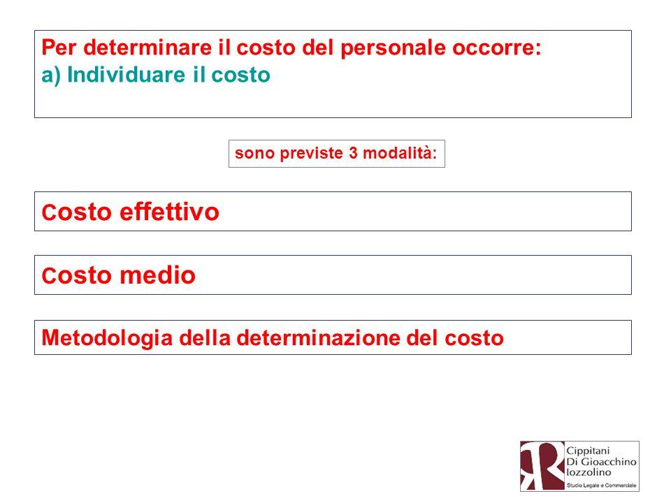 Per determinare il costo del personale occorre: