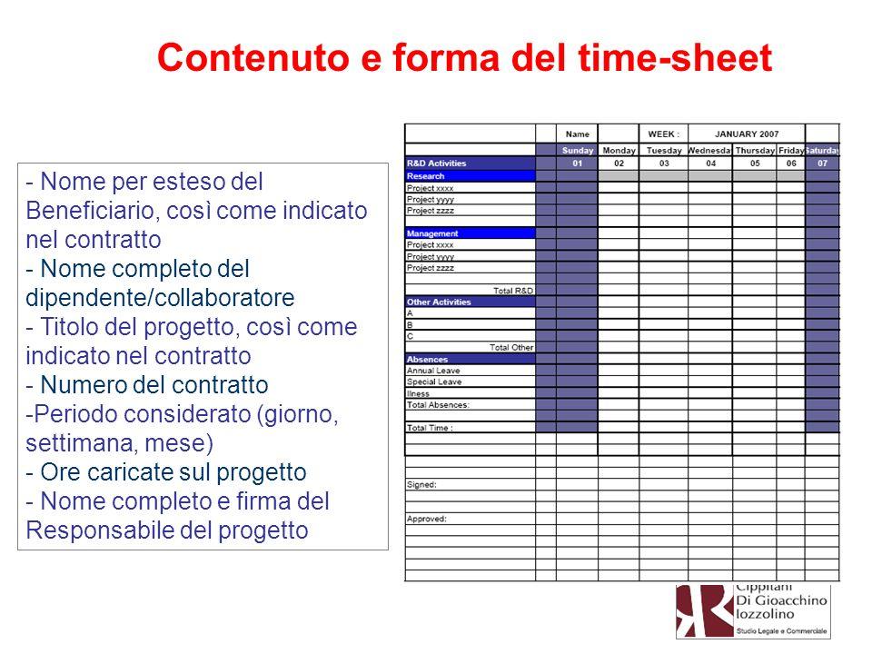Contenuto e forma del time-sheet