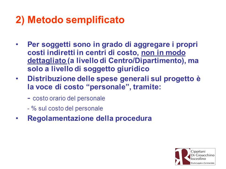 2) Metodo semplificato - costo orario del personale