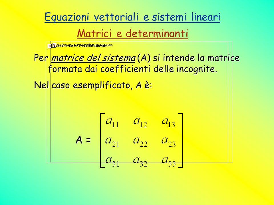 Equazioni vettoriali e sistemi lineari Matrici e determinanti