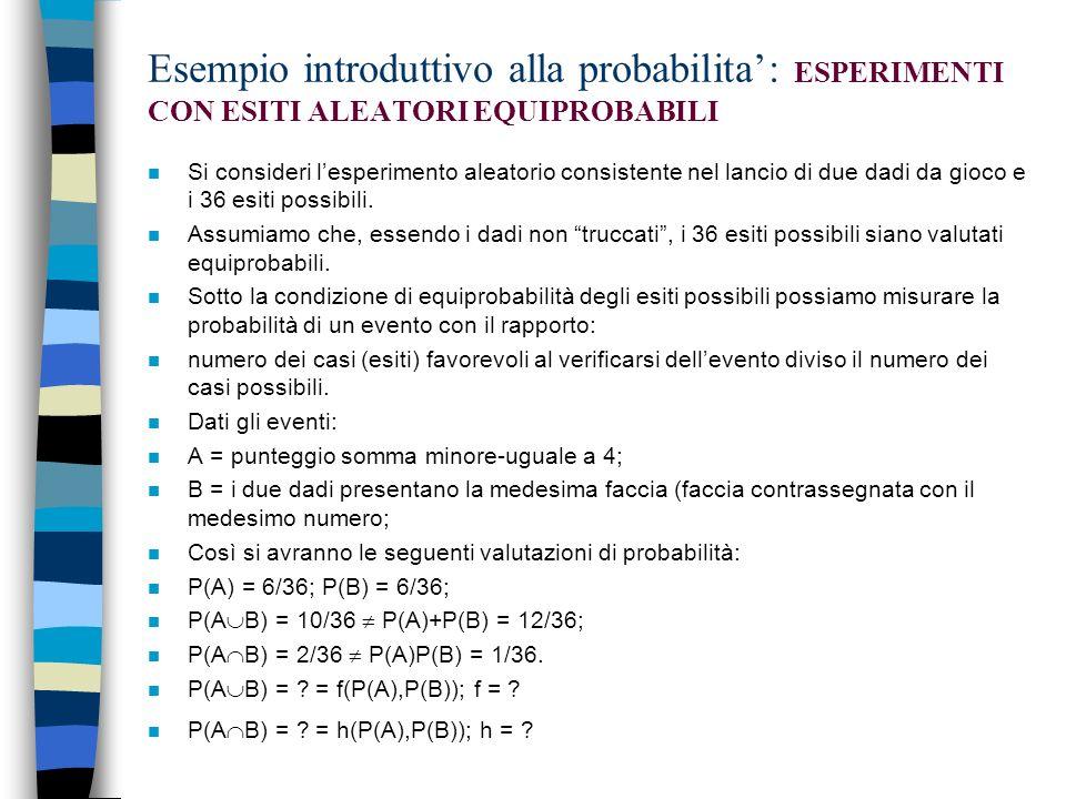 Esempio introduttivo alla probabilita': ESPERIMENTI CON ESITI ALEATORI EQUIPROBABILI