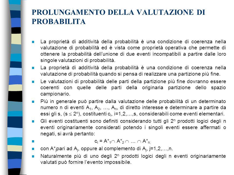 PROLUNGAMENTO DELLA VALUTAZIONE DI PROBABILITA