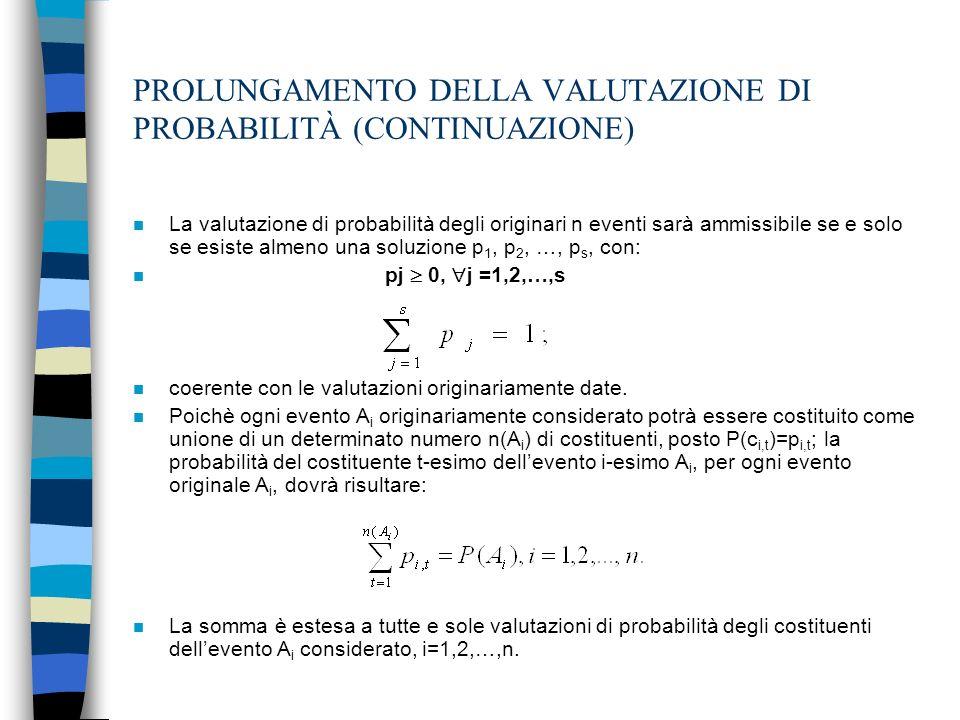 PROLUNGAMENTO DELLA VALUTAZIONE DI PROBABILITÀ (CONTINUAZIONE)