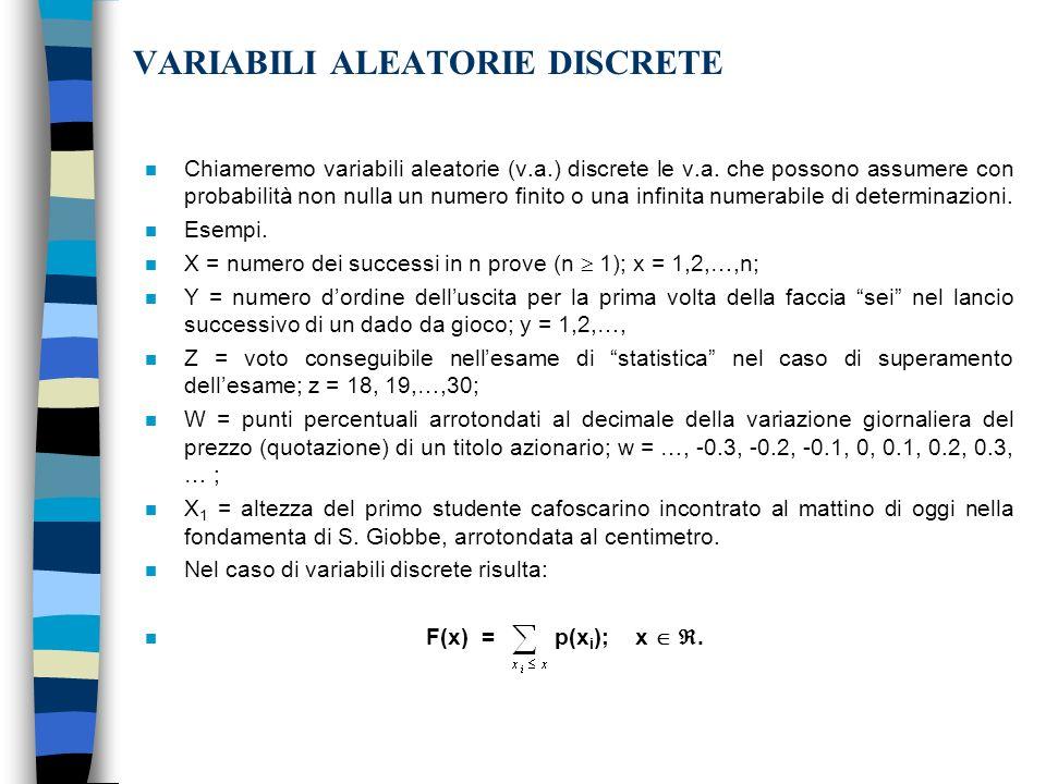 VARIABILI ALEATORIE DISCRETE