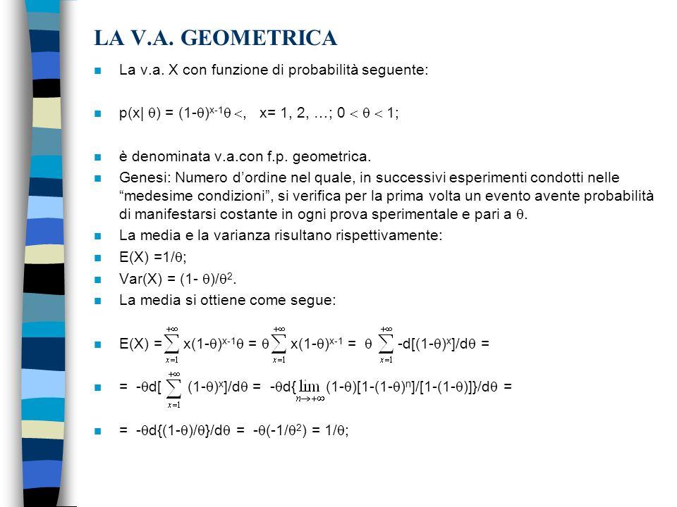 LA V.A. GEOMETRICA La v.a. X con funzione di probabilità seguente: