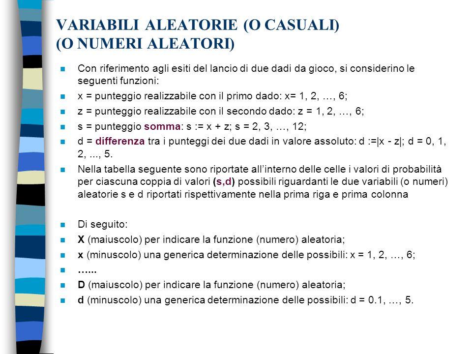 VARIABILI ALEATORIE (O CASUALI) (O NUMERI ALEATORI)