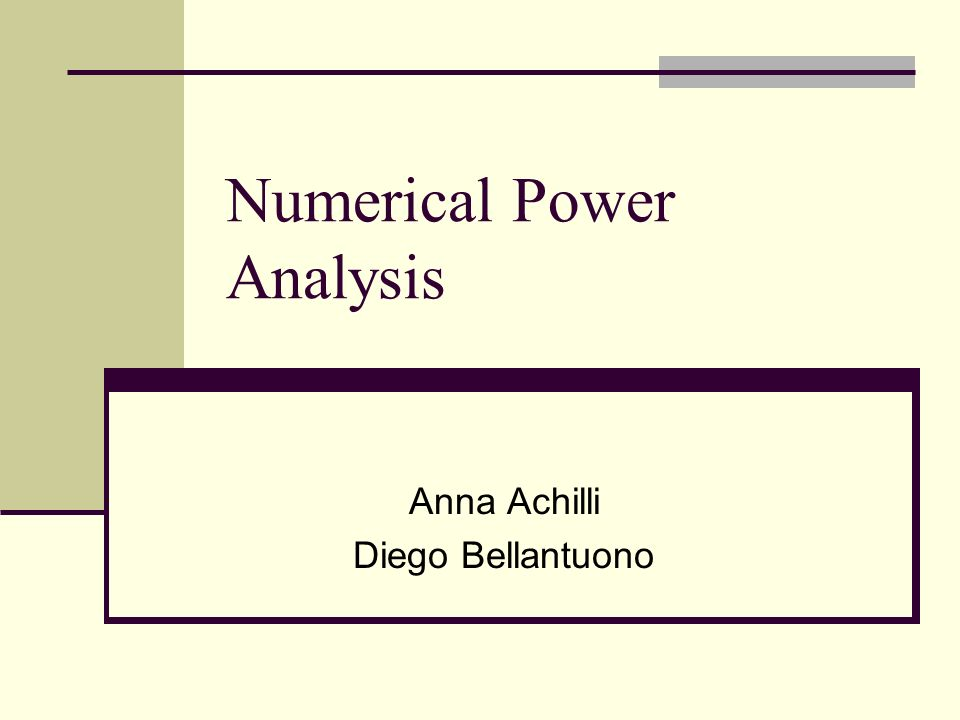 Numerical Power Analysis