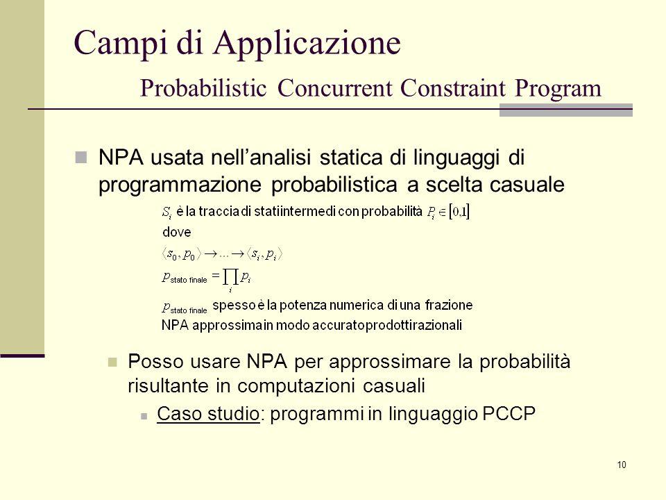 Campi di Applicazione Probabilistic Concurrent Constraint Program