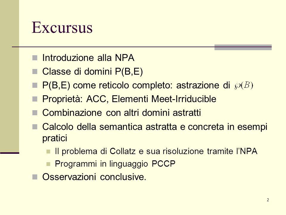 Excursus Introduzione alla NPA Classe di domini P(B,E)