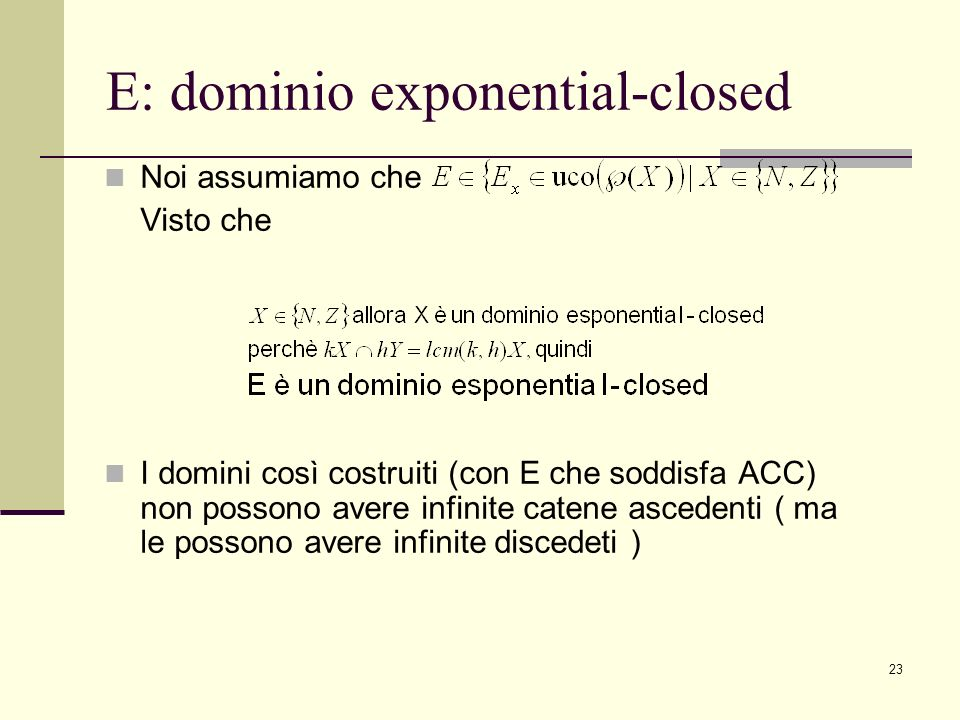 E: dominio exponential-closed