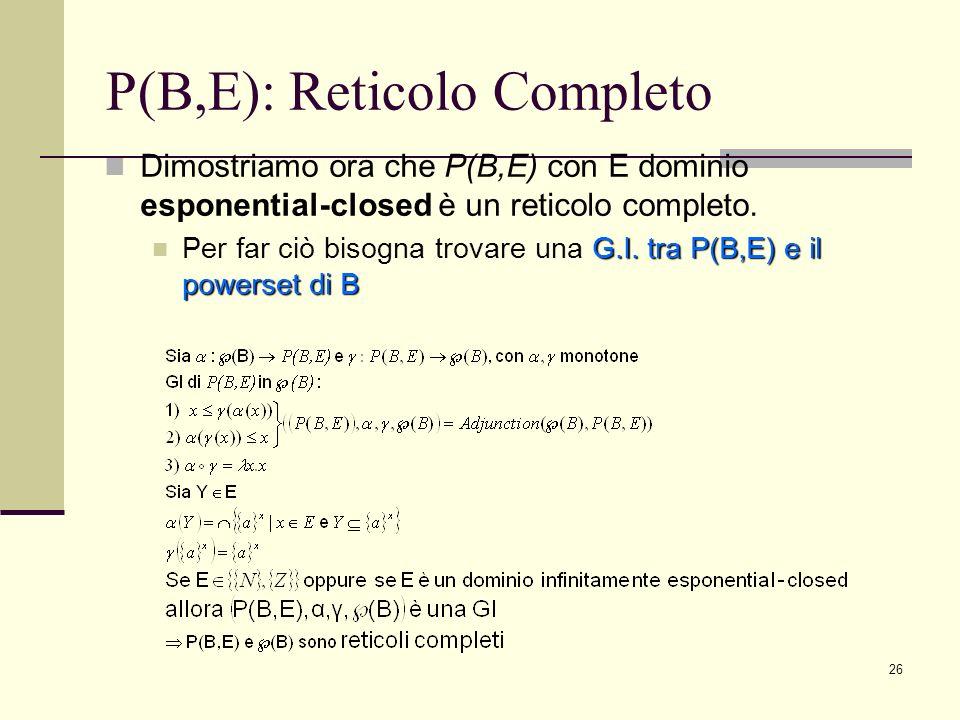 P(B,E): Reticolo Completo