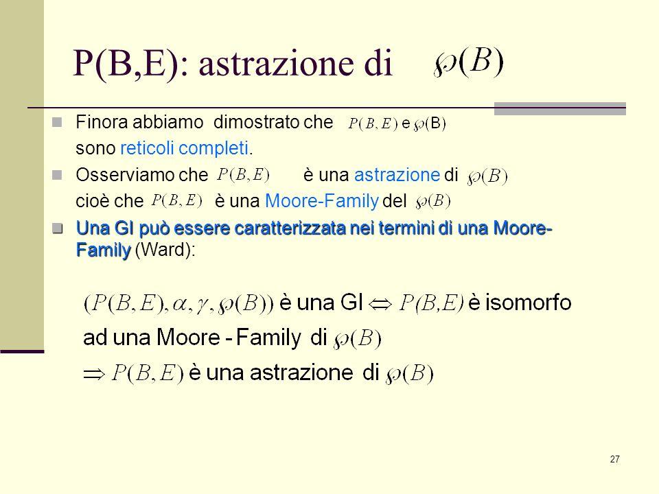 P(B,E): astrazione di Finora abbiamo dimostrato che