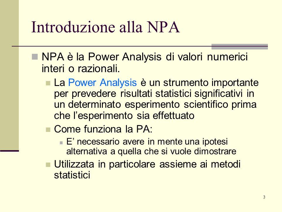 Introduzione alla NPA NPA è la Power Analysis di valori numerici interi o razionali.