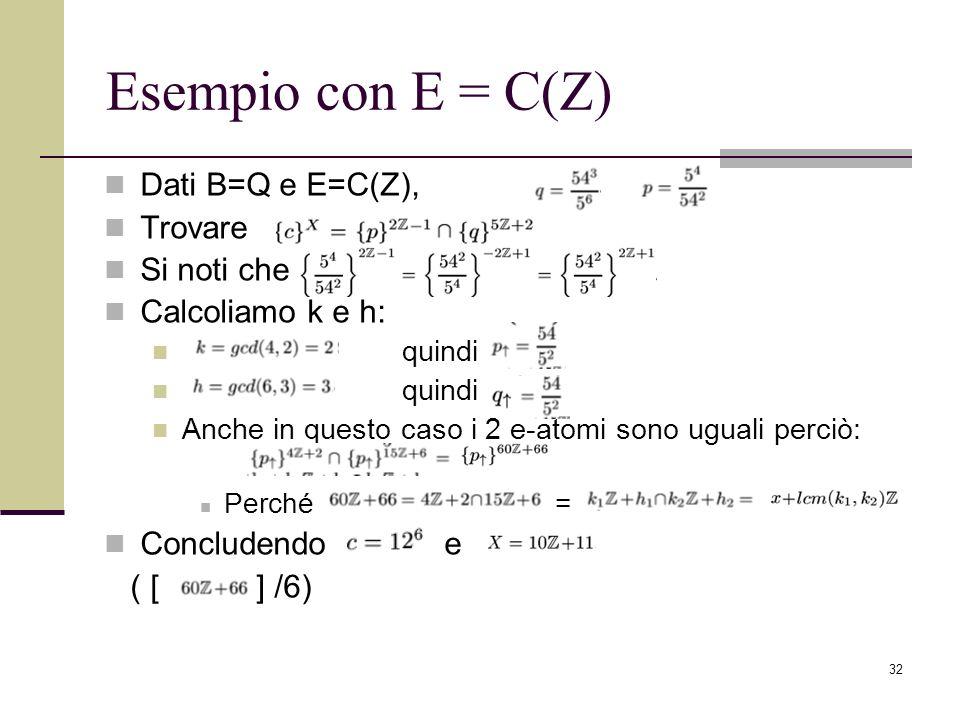 Esempio con E = C(Z) Dati B=Q e E=C(Z), Trovare Si noti che