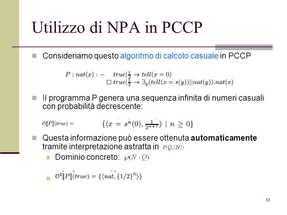Utilizzo di NPA in PCCP Consideriamo questo algoritmo di calcolo casuale in PCCP.