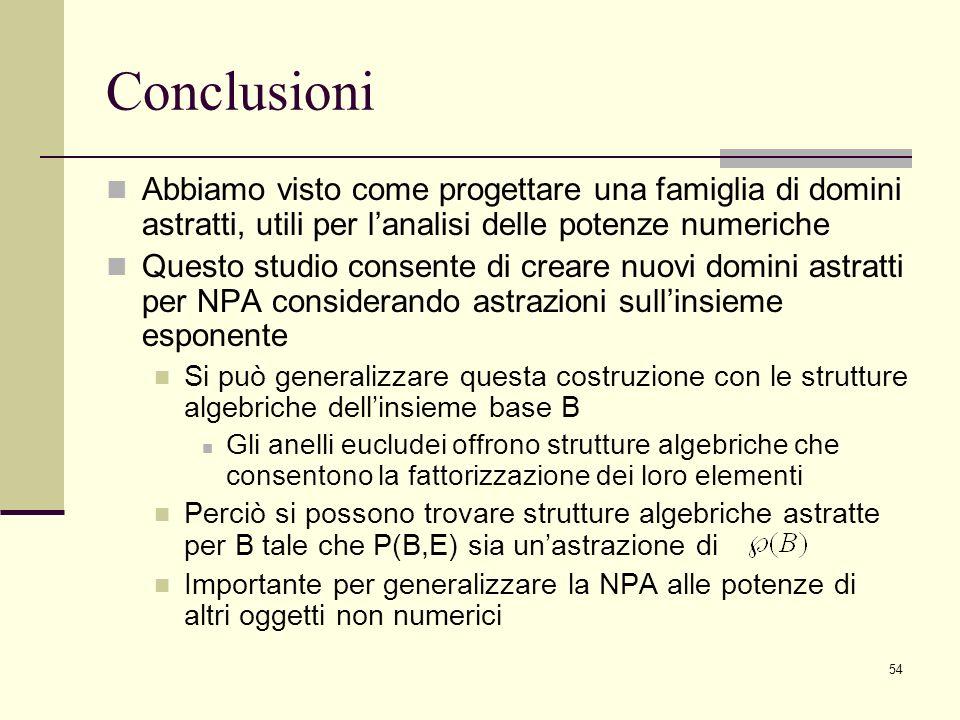 Conclusioni Abbiamo visto come progettare una famiglia di domini astratti, utili per l'analisi delle potenze numeriche.