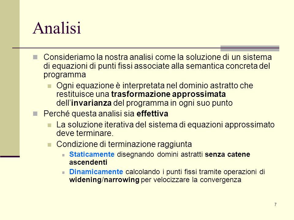 Analisi Consideriamo la nostra analisi come la soluzione di un sistema di equazioni di punti fissi associate alla semantica concreta del programma.