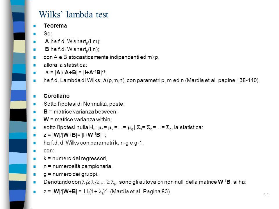 Wilks' lambda test Teorema Se: A ha f.d. Wishartp(I,m);