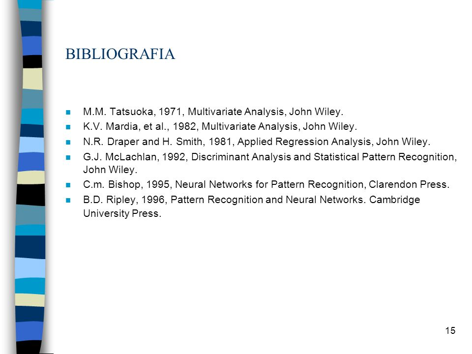 BIBLIOGRAFIA M.M. Tatsuoka, 1971, Multivariate Analysis, John Wiley.