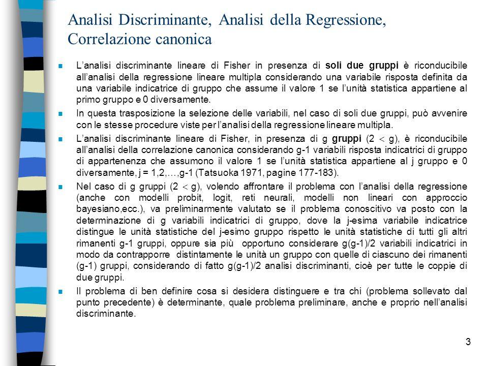 Analisi Discriminante, Analisi della Regressione, Correlazione canonica