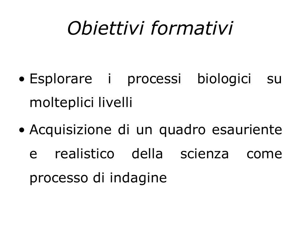 Obiettivi formativi Esplorare i processi biologici su molteplici livelli.