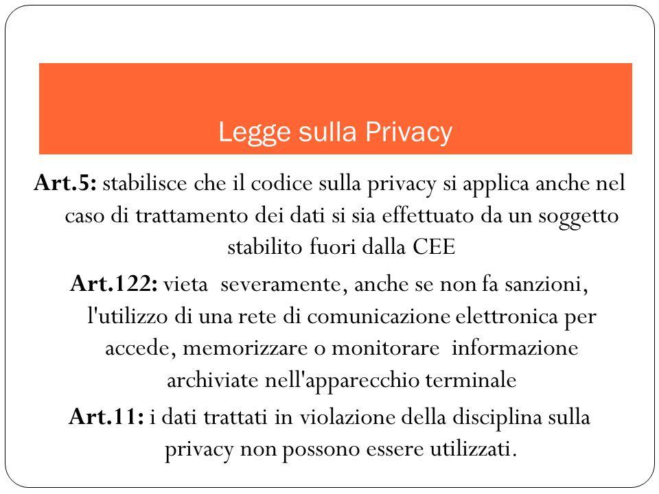 Art.5: stabilisce che il codice sulla privacy si applica anche nel caso di trattamento dei dati si sia effettuato da un soggetto stabilito fuori dalla CEE