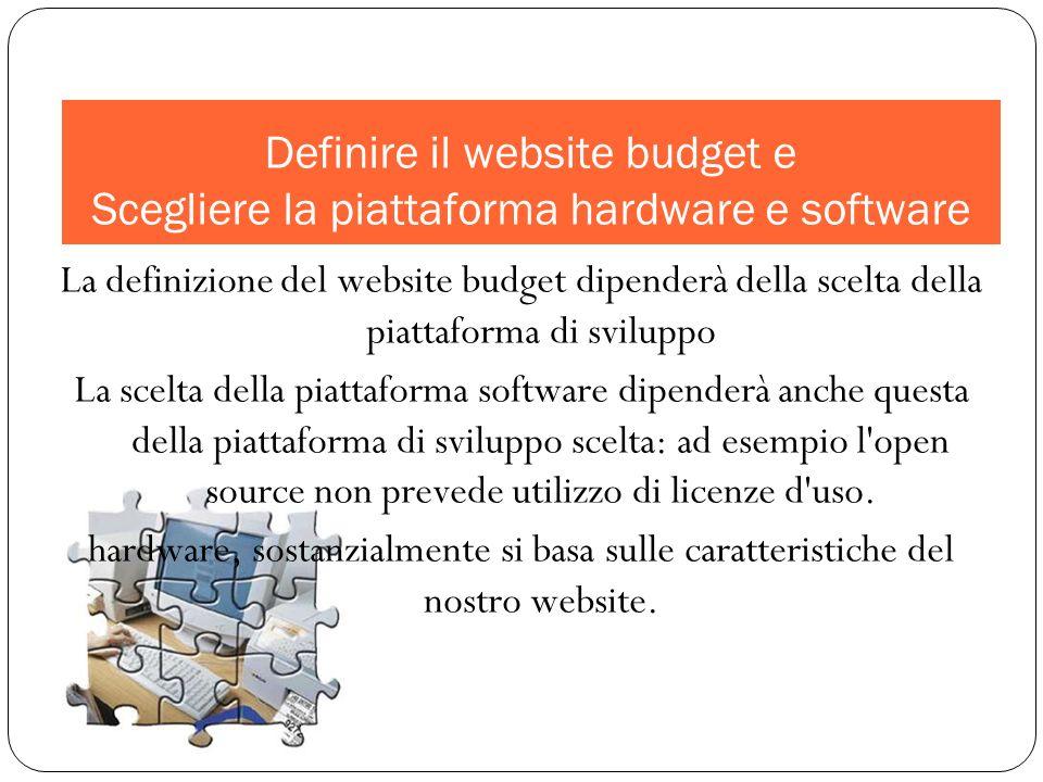 La definizione del website budget dipenderà della scelta della piattaforma di sviluppo