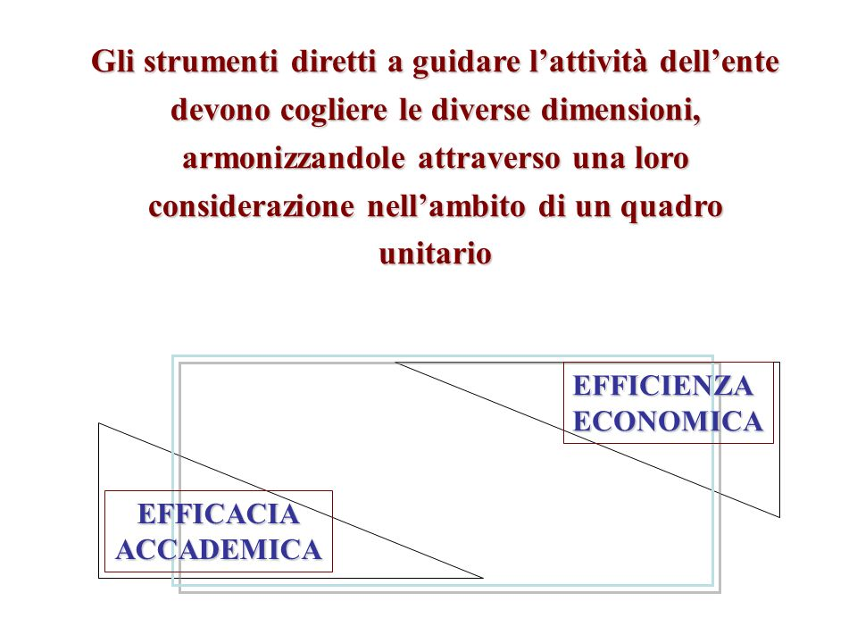 Gli strumenti diretti a guidare l'attività dell'ente devono cogliere le diverse dimensioni, armonizzandole attraverso una loro considerazione nell'ambito di un quadro unitario